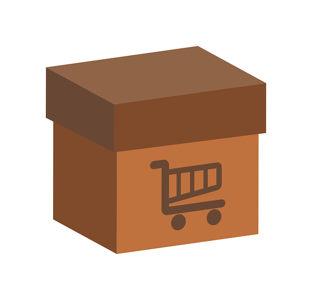 nákupní košík na krabici